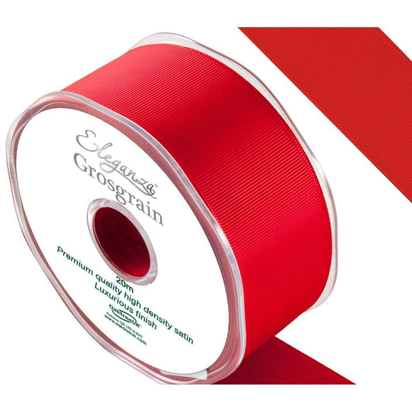 Eleganza Premium Satin Grosgrain Ribbon - Red 38mm-The Creative Bride