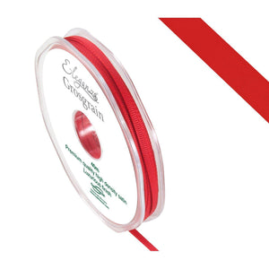 Eleganza Premium Satin Grosgrain Ribbon - Red 3mm-The Creative Bride