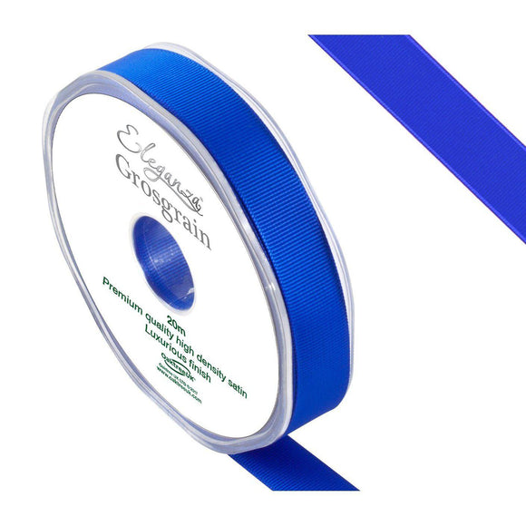 Eleganza Premium Satin Grosgrain Ribbon - Royal Blue 15mm-The Creative Bride