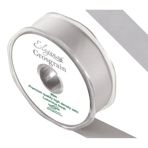 Eleganza Premium Satin Grosgrain Ribbon - Silver 25mm-The Creative Bride