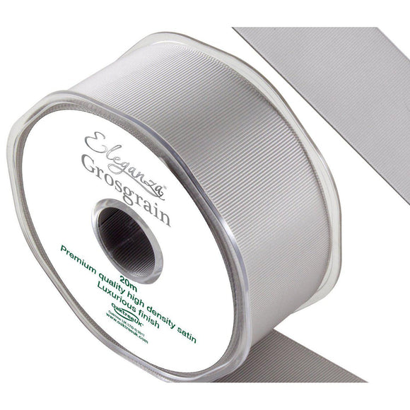 Eleganza Premium Satin Grosgrain Ribbon - Silver 38mm-The Creative Bride
