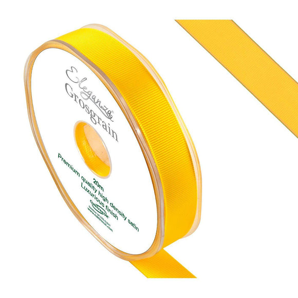 Eleganza Premium Satin Grosgrain Ribbon - Yellow 15mm-The Creative Bride