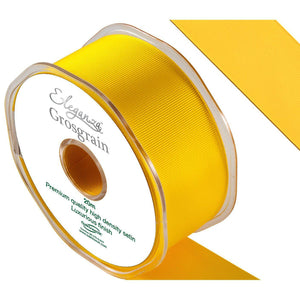 Eleganza Premium Satin Grosgrain Ribbon - Yellow 38mm-The Creative Bride