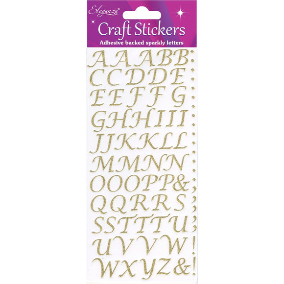 Eleganza Self Adhesive Glitter Alphabet Sticker Embellishments - Italic Gold-The Creative Bride