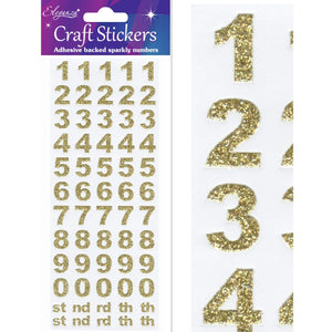Eleganza Self Adhesive Glitter Number Stickers Embellishments - Bold Gold-The Creative Bride