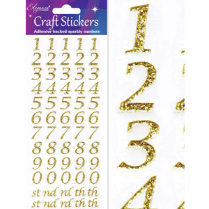 Eleganza Self Adhesive Glitter Number Stickers Embellishments - Italic Gold-The Creative Bride
