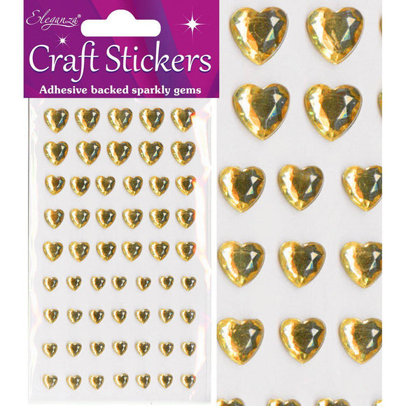 Eleganza Self-Adhesive Mixed Sizes Heart Rhinestone Stickers - Gold-The Creative Bride