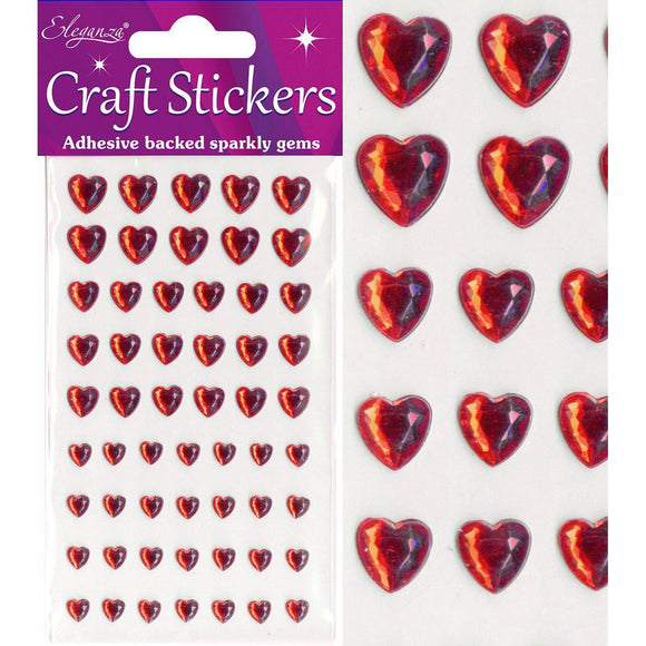 Eleganza Self-Adhesive Mixed Sizes Heart Rhinestone Stickers - Red-The Creative Bride