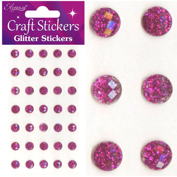 Eleganza Self-Adhesive Round Glitter Gem Stickers - Fuchsia 8mm-The Creative Bride