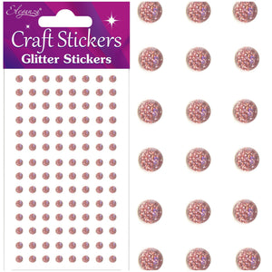 Eleganza Self-Adhesive Round Glitter Gem Stickers - Rose Gold-The Creative Bride