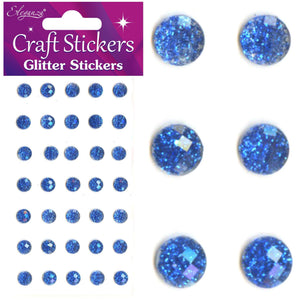 Eleganza Self-Adhesive Round Glitter Gem Stickers - Royal Blue 8mm-The Creative Bride