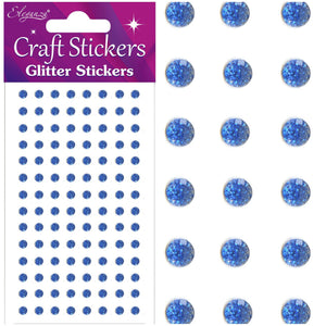 Eleganza Self-Adhesive Round Glitter Gem Stickers - Royal Blue-The Creative Bride