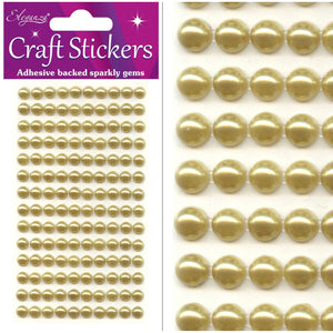 Eleganza Self-Adhesive Round Pearl Stickers - Gold 4mm-The Creative Bride
