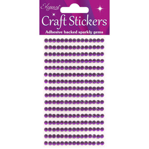 Eleganza Self-Adhesive Round Rhinestone Stickers - Amethyst 4mm-The Creative Bride