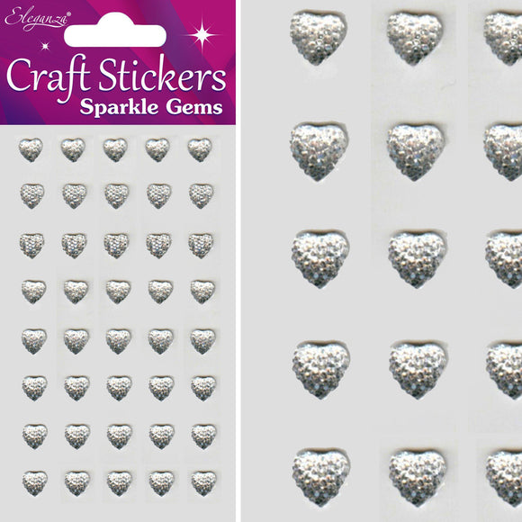 Eleganza Self-Adhesive Sparkle Gem Heart Stickers-The Creative Bride