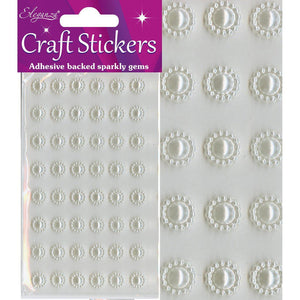 Eleganza Self-Adhesive Sun-Shaped Pearl Stickers - Ivory-The Creative Bride
