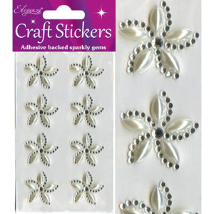 Eleganza Self-Adhesive Swirl Flower Pearl & Rhinestone Stickers-The Creative Bride