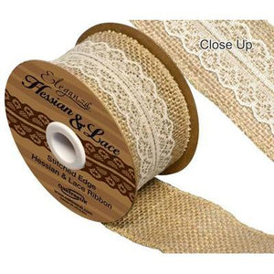 Eleganza Woven Hessian Ribbon with Ivory Lace-The Creative Bride