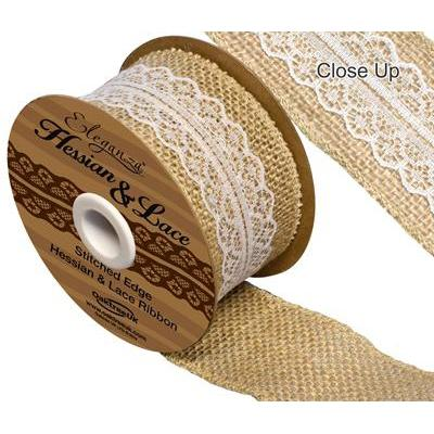 Eleganza Woven Hessian Ribbon with White Lace-The Creative Bride