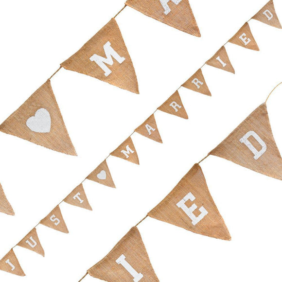 Just Married Natural Hessian Bunting-The Creative Bride