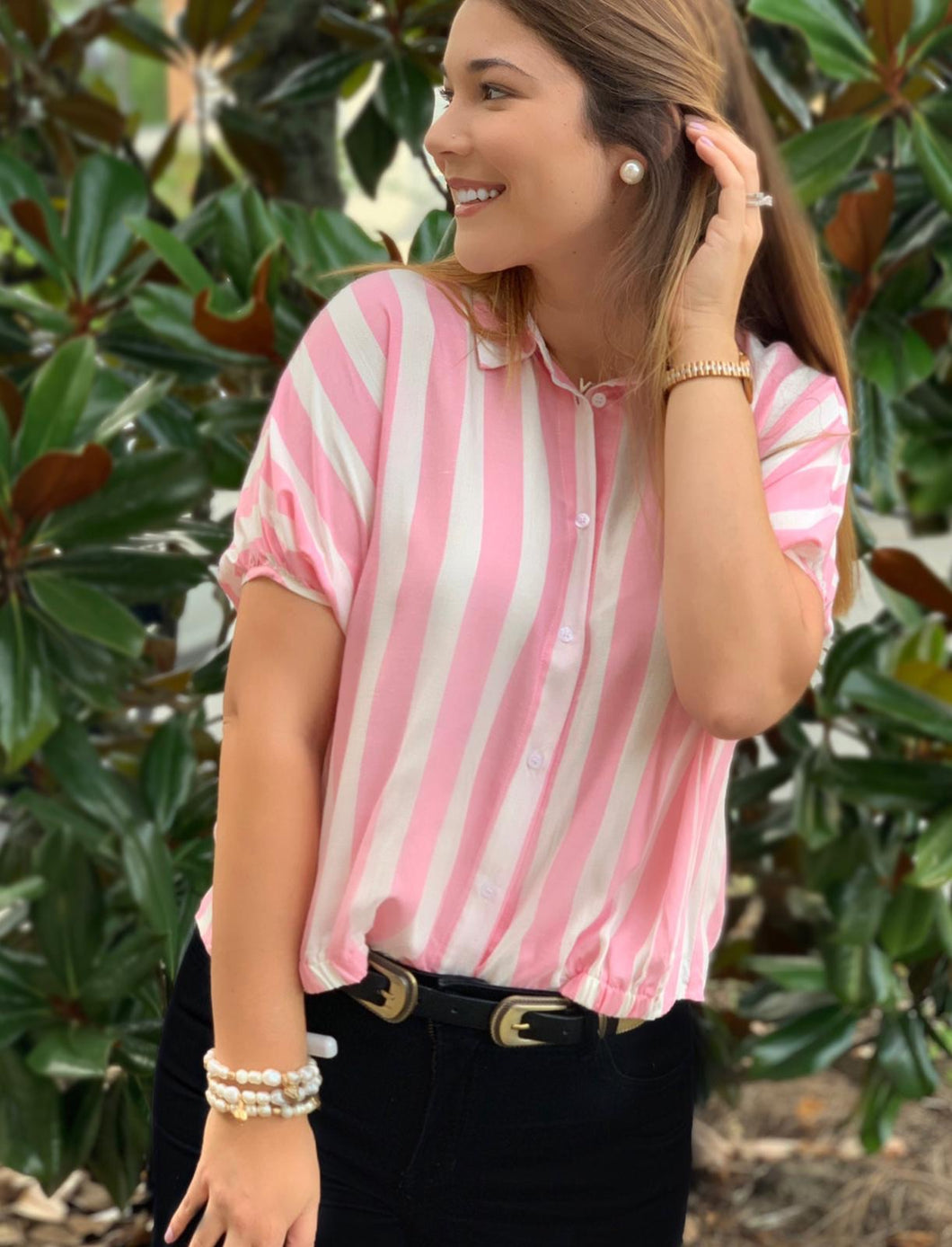 Pink/White StrippedButton-Up Top