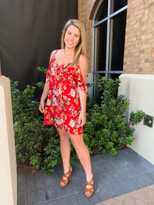 Red Printed Flower Dress Cool Shoulder