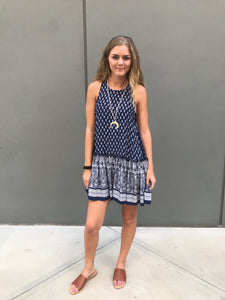 Navy/ Cream Printed Lace Up Sides Dress