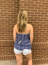 Blue Backless Halter Top
