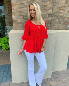 Flare Sleeve Cherry Top