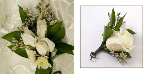 White Corsage and Boutonniere