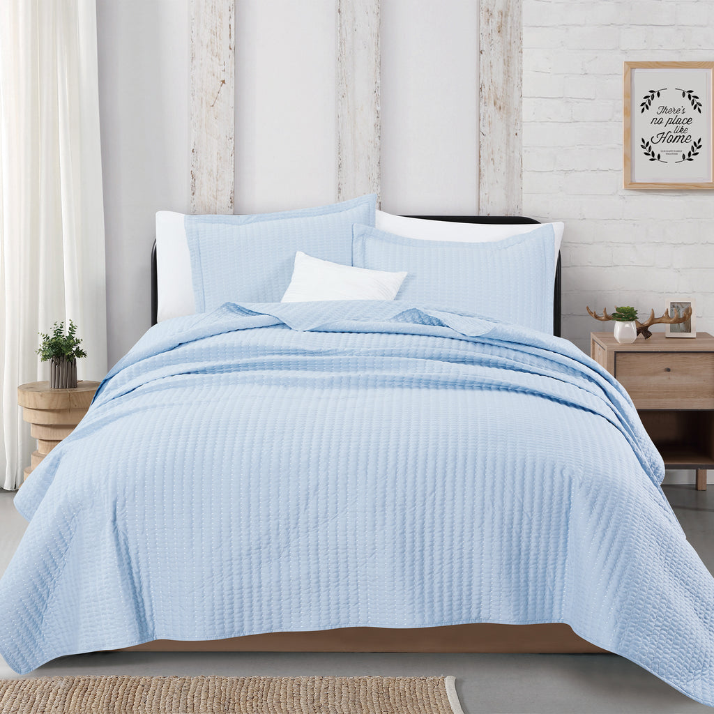 Alicia Basket Weave Textured Quilt Set With Shams