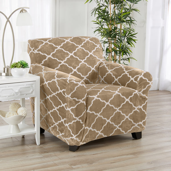 Magnolia Collection velvet plush stretch slipcover at Great Bay Home