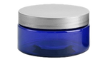Plastic Blue Jars with Silver Lids, 8 oz.