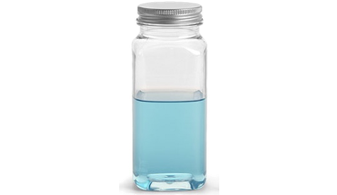 Plastic Square Clear Bottles with Aluminum Caps, 8 oz.