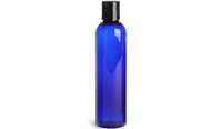 Plastic Tall Blue Bottles with Black Disc Top Caps, 8 oz.