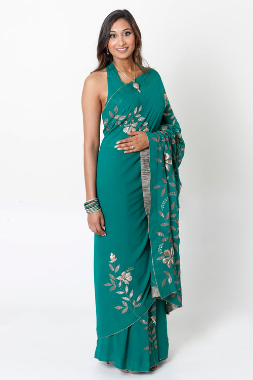 EMERALD GREEN TWO-STEP SARI