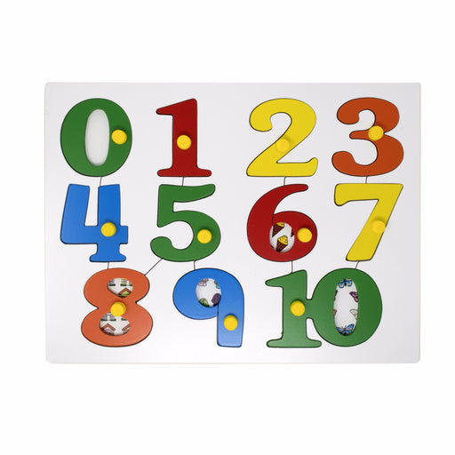 Number Inset Puzzle Picture Board -0 to 10 with Knob