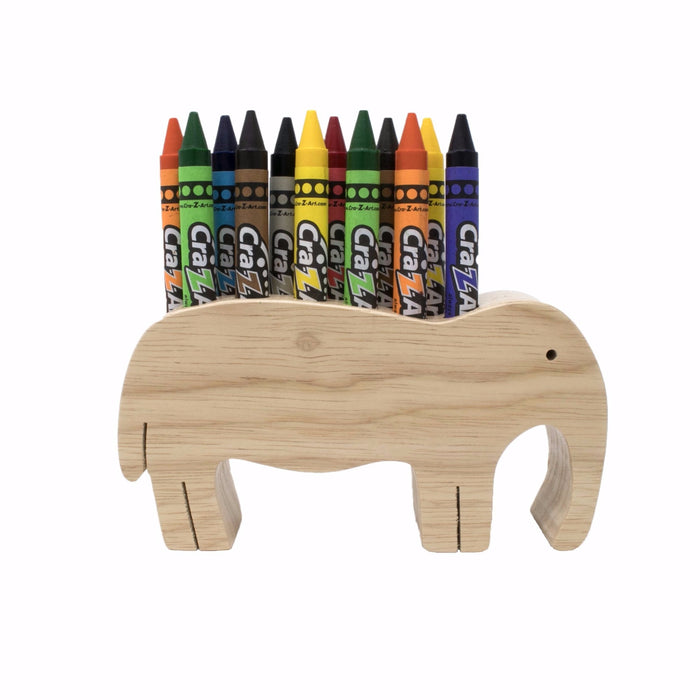 Marker Pen Pencil Wooden Holder Elephant