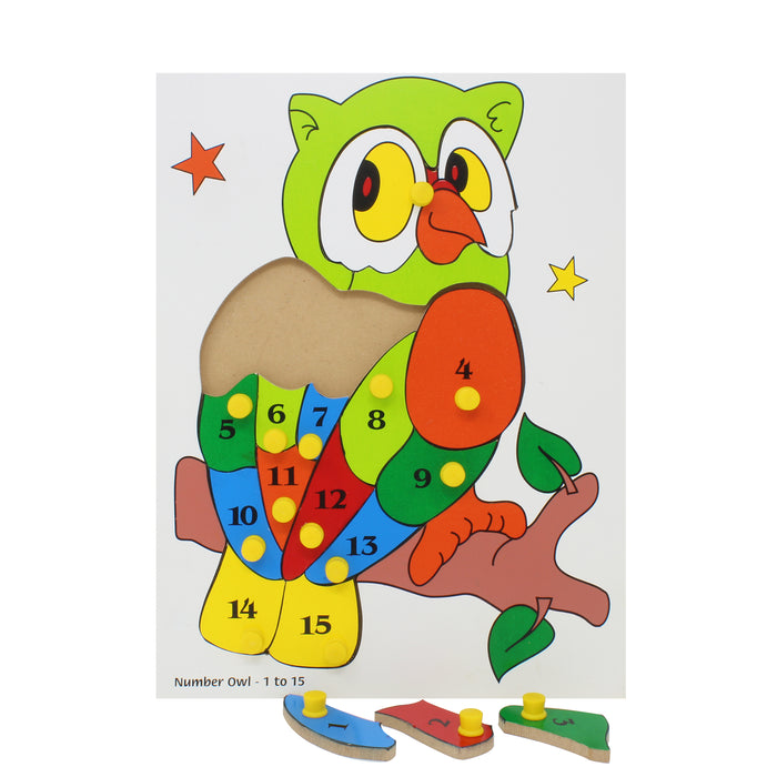 Number Inset Puzzle Board Owl -1 to 15 with Knob