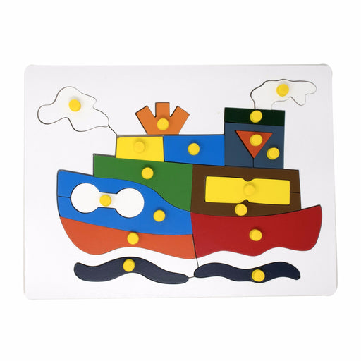 Ship Inset Puzzle board with knob (17 Pcs)