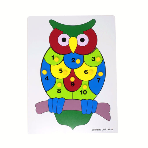 Number Inset Puzzle Board Owl -1 to 10 with Knob