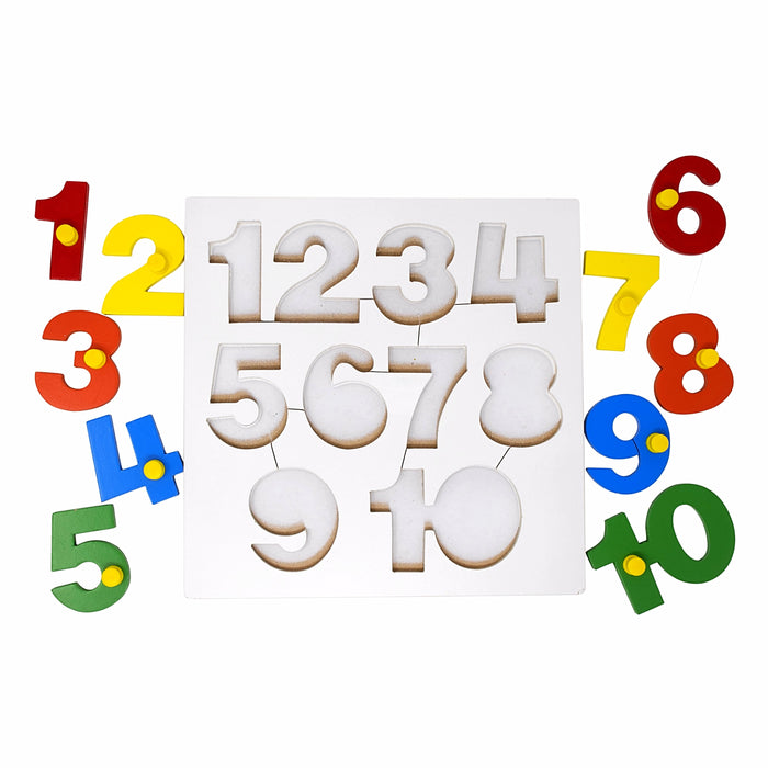 Number Inset Puzzle Board -1 to 10 with Knob