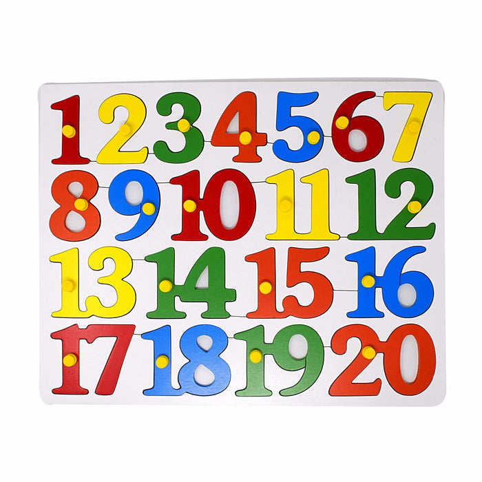 Number Inset Puzzle Board -1 to 20 with Knob