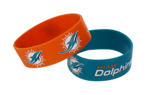Miami Dolphins Two Pack Wide Bracelets