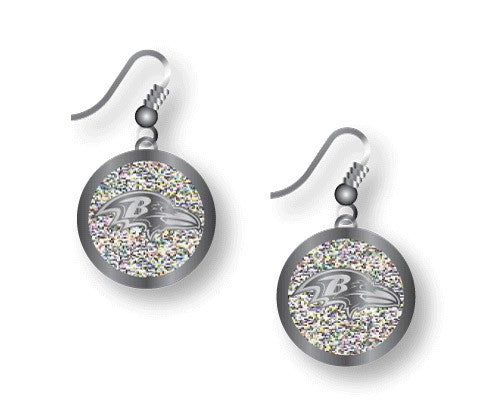 Baltimore Ravens Glitter J-Hook Earrings