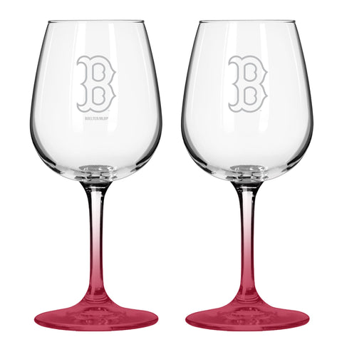 Boston Red Sox 12oz. Color Stem Wine Glass