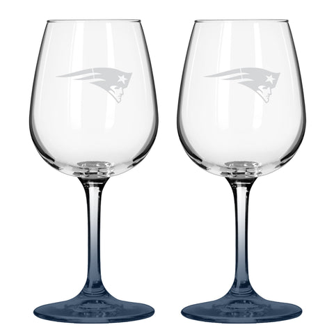New England Patriots 12oz. Color Stem Wine Glass