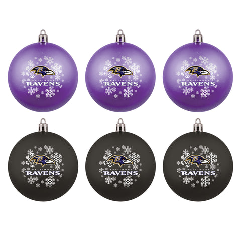 Baltimore Ravens 6 Pack Home & Away Shatterproof Ornaments