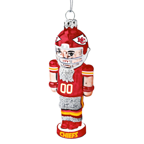 Kansas City Chiefs Glass Nutcracker Ornament