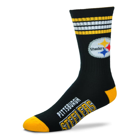 Pittsburgh Steelers 4 Stripe Deuce Socks - Medium